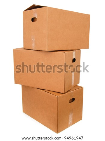 A set of parcel boxes on duty - stock photo
