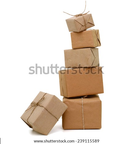A set of parcel pile - stock photo