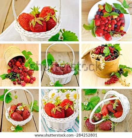 A set of photos of strawberries, raspberries, cherries and currants on a background fabric and a wooden board