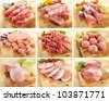 A set of pork and beef meats on cutting boards - stock photo