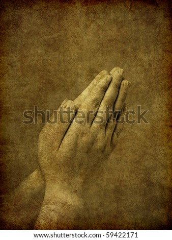 A set of praying hands - image has been textured and distressed to simulate an old and aged ambrotype photo from the Victorian era. - stock photo