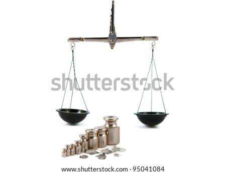 A set of precision weights for a balance scale. - stock photo