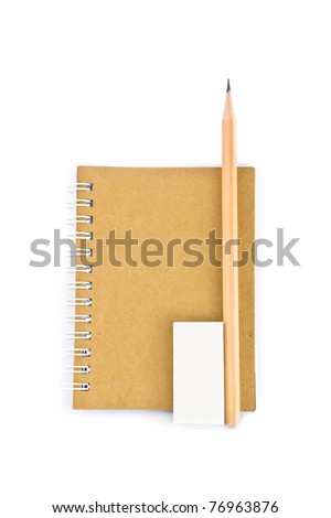 a set of recycle stationary, consisting of notebook, pencil, rubber