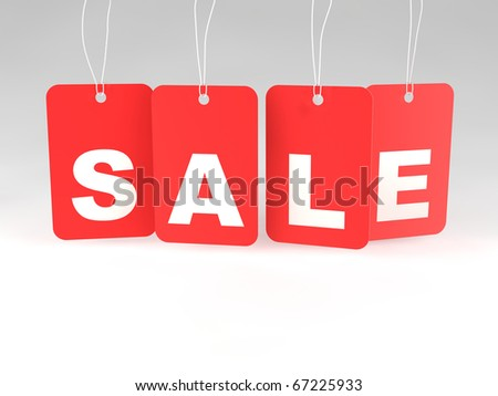 A set of red sale price tags against a blank background