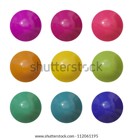 A set of round glossy plastic buttons