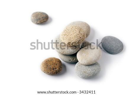 A set of round smooth stones - stock photo