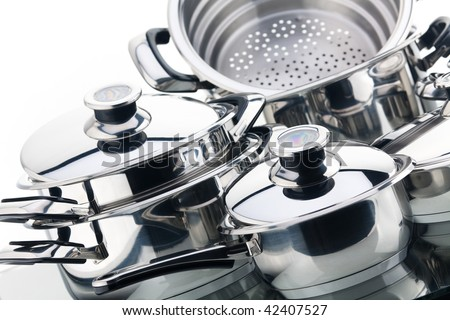 A set of saucepans, stainless steel - stock photo