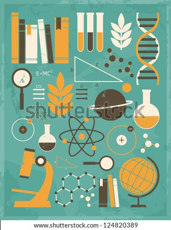 A set of science and education icons in vintage style. - stock photo