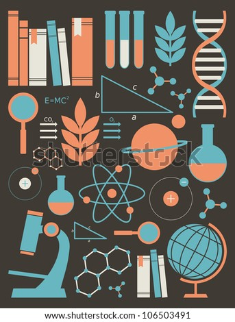 A set of science and education symbols in orange and blue. - stock photo