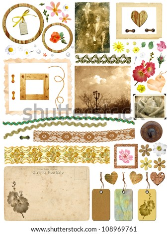A set of scrap elements - picture frames, old photos, flowers, hearts, lace, postcards, gift tags. Template for the album design in vintage style. On a white background - stock photo
