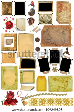 A set of scrap elements, picture frames, photo edges and texture of the paper. Template for the album design in vintage style. On a white background