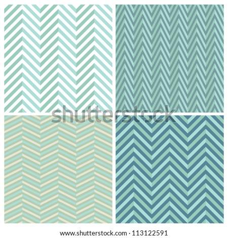 A set of seamless retro Zig zag patterns. - stock photo