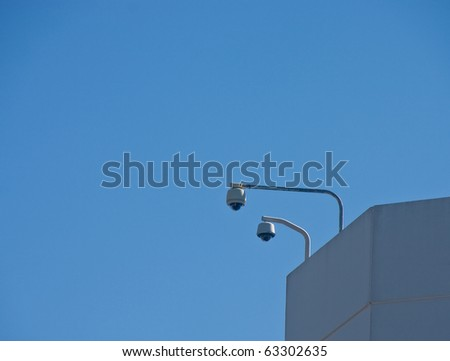 A set of security cameras on a commercial building