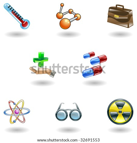 A set of shiny glossy medical icons - stock photo
