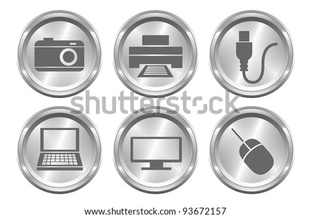 A set of 6 shiny metallic device buttons. - stock photo