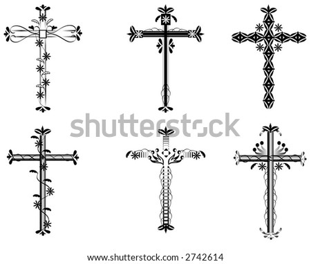 A set of six crosses with swirls,flowers,hearts and more.Black over a white background.