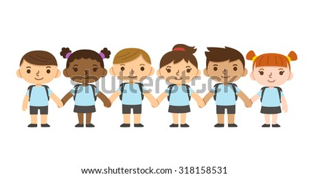 A set of six cute diverse children wearing school uniform with backpacks and holding hands. Different skintones and hairstyles. - stock photo