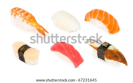 a set of six different sushi cakes, over white - stock photo