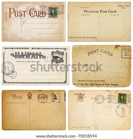 A set of six heavily aged postcards from early 1900s. Each card is blank with room for your text and images. Isolated on white with clipping paths. - stock photo