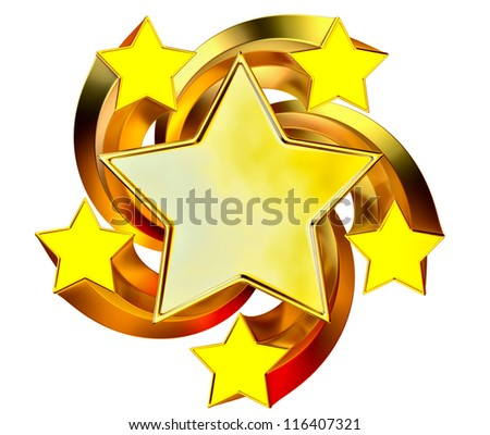 a set of six shiny gold stars in motion for advertise - stock photo