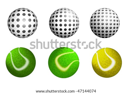 a set of sport balls isolated on white - stock photo