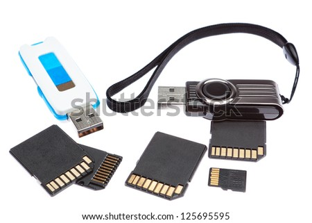 A set of storage memory. On a white background. - stock photo