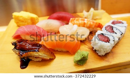 a set of sushi platter with assorted of fresh raw fish - stock photo
