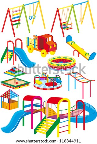 A set of swings, slides and rides for the children's playground in the projection. Raster version - stock photo