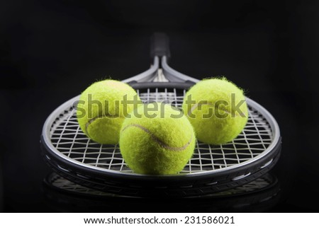 A set of tennis. Racket and ball. Studio shot - stock photo