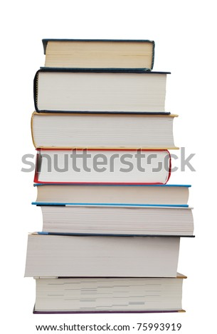 A set of textbook pile - stock photo