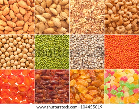 A set of textures of nuts, legumes and dried fruits. - stock photo