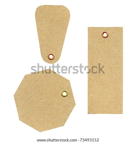 A set of three blank new brown rough paper tags, used for selling clothes etc., isolated on white background - stock photo
