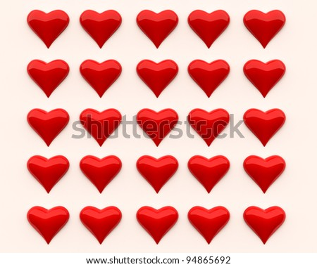 A set of three-dimensional shiny hearts on a light background - stock photo