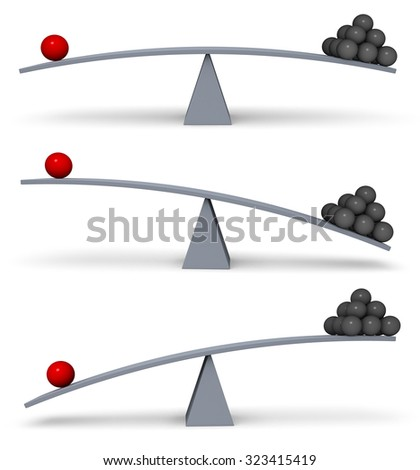 A set of three images of a red sphere and a stack of dark gray spheres on opposite ends of a gray balance board in turns outweighing or balancing each other. Isolated on white.