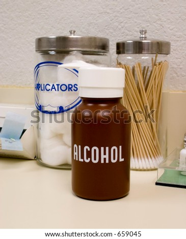 A set of three often used supplies in a medical or vision care office for cleaning wounds. - stock photo