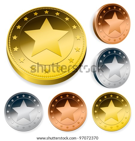 A set of three round coins or tokens with a central star in gold, silver and bronze in two orientations - stock photo