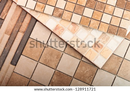 A set of tiles for kitchen design and bathroom