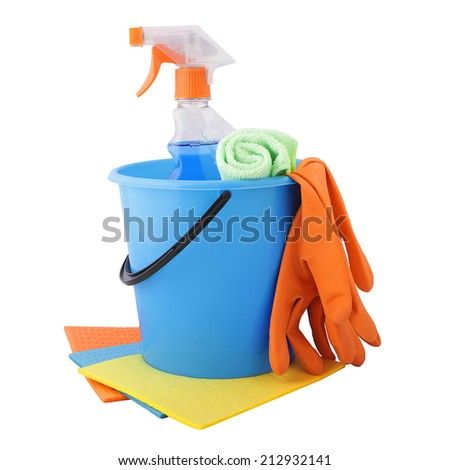 A set of tools for cleaning isolated on white background.