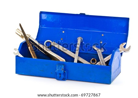 A set of tools in blue toolbox - isolated on white background. - stock photo