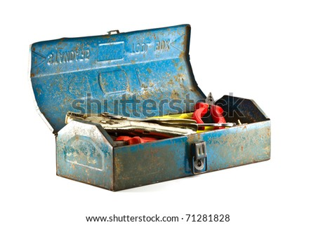 A set of tools in old  blue toolbox - isolated on white background. - stock photo
