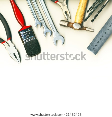 A set of tools - isolated on white background - stock photo