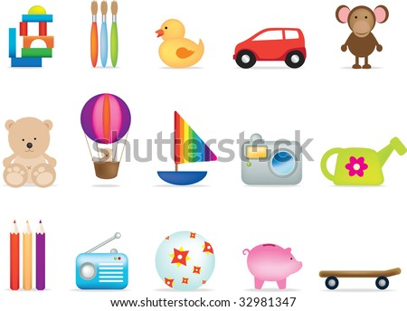 A set of 15 toy illustrations for under fives - stock photo