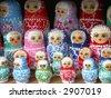 A set of traditional russian babushka dolls made of wood - stock photo