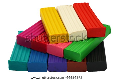 A set of twelve colors of Modelling clay. Modelling and design for children. - stock photo