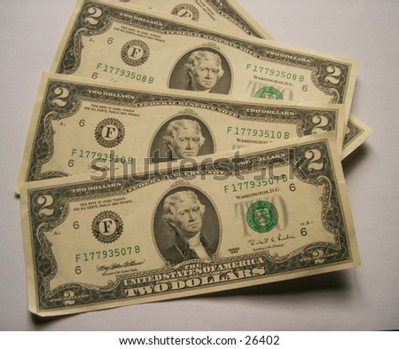 A set of 4 two dollar notes