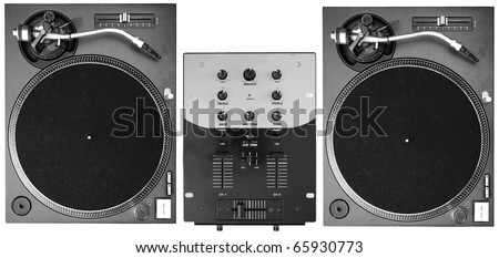 A set of two turntables and a mixer isolated on white background - stock photo