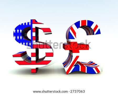 A set of US and UK currency symbols. - stock photo