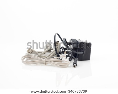 A set of various cable over a white background