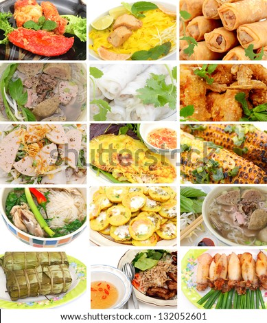 A set of vietnamese foods: on details and top view - stock photo