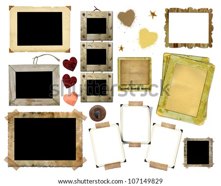A set of vintage photo frames on a white background. Template for the design in the style of the scrap-bookings